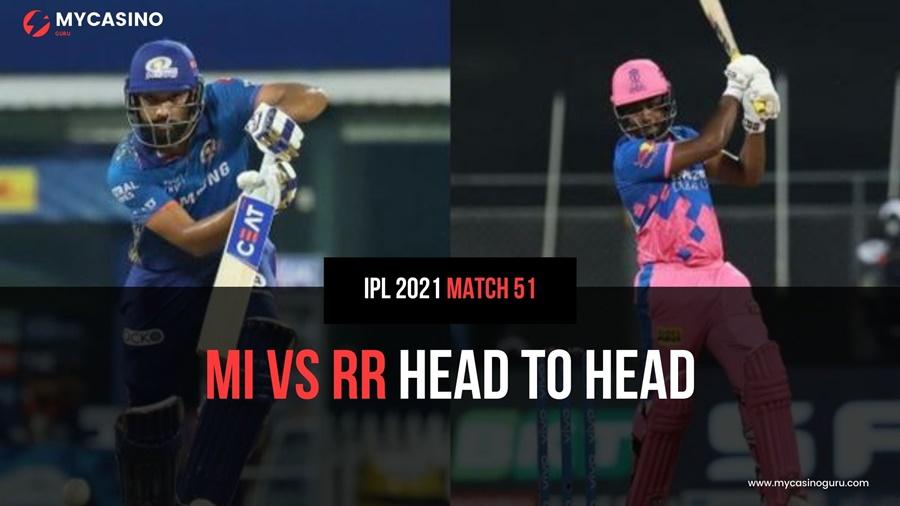 RR vs MI Head to Head Match 51 IPL 2021 – Records and Stats